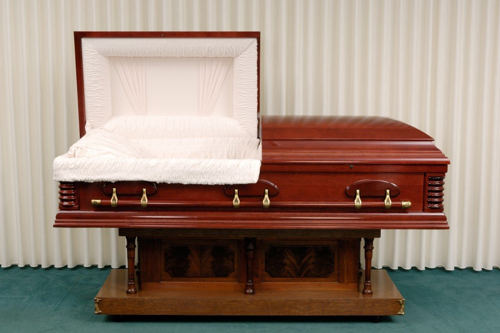 Wooden casket in a funeral home