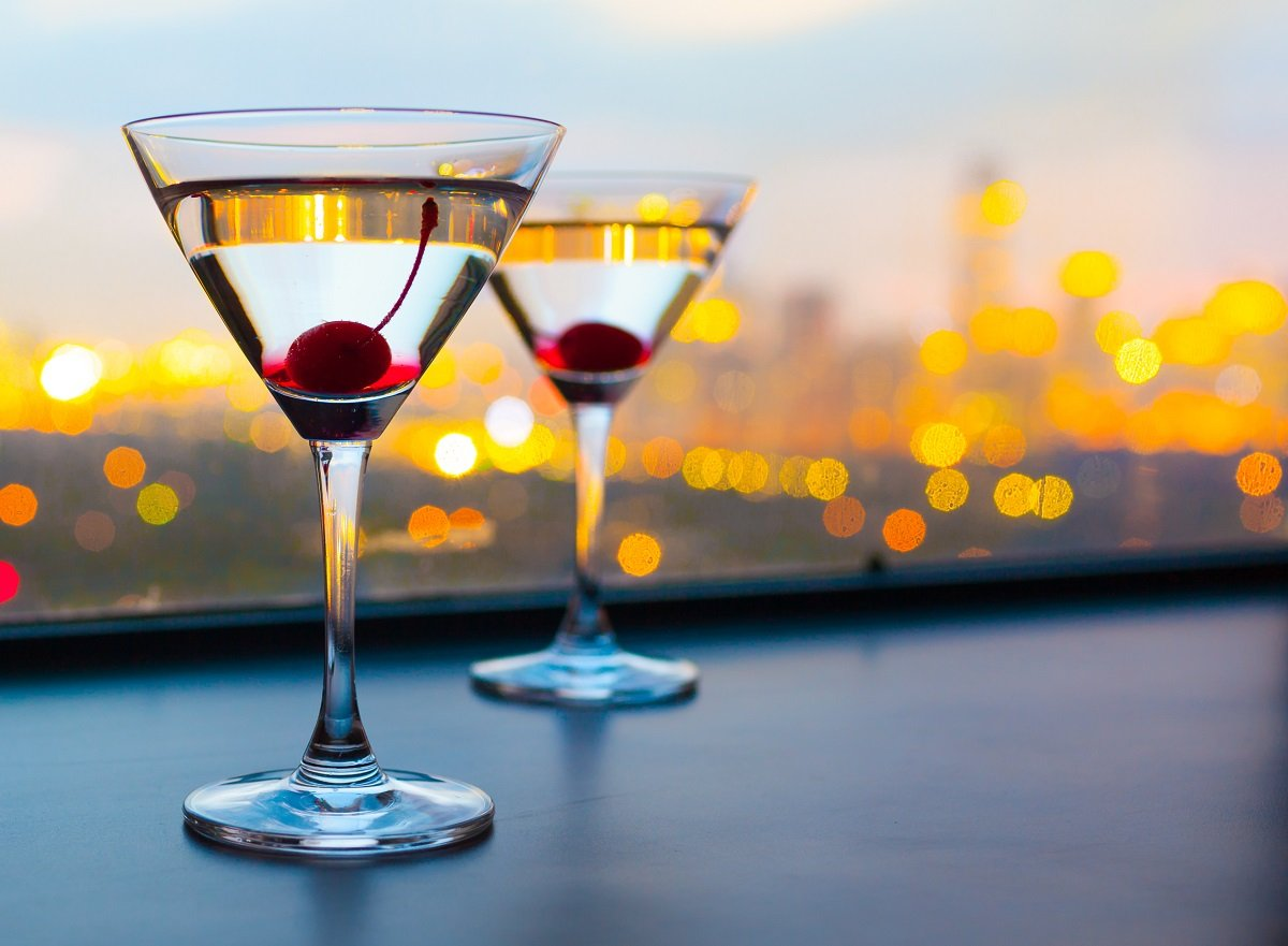 Cocktail glasses with cherries