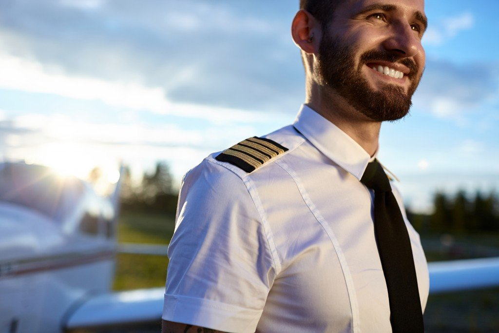pilot wearing his uniform
