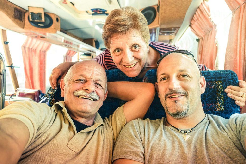 Man with elderly parents