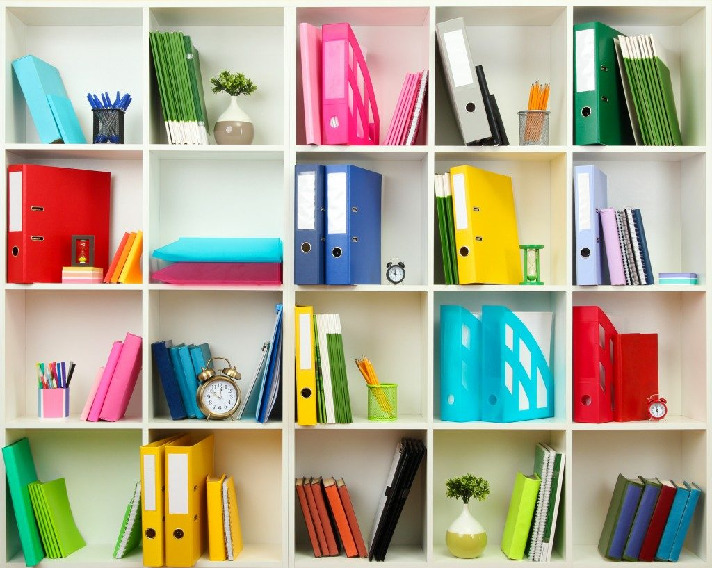 White office shelves with stationery