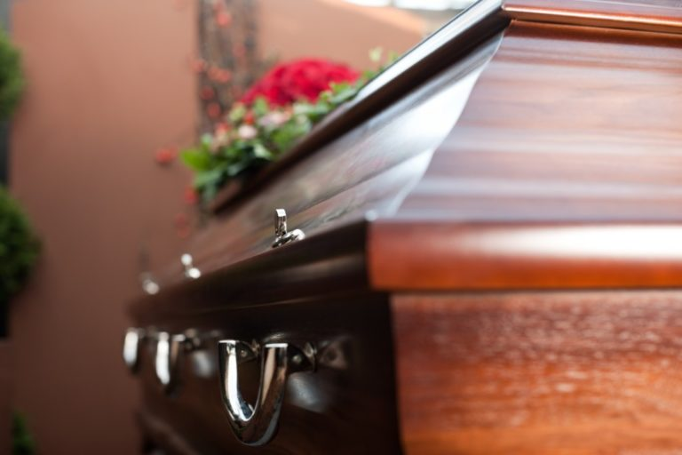 the side of a coffin
