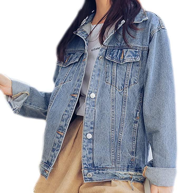 Woman wearing a denim jacket