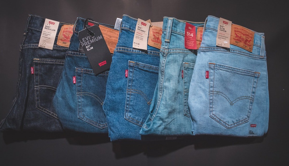 different colored jeans
